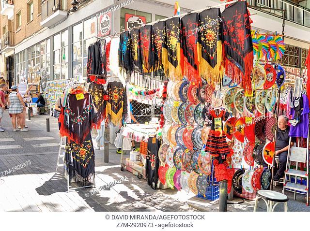 Sale of fans mantones de Manila (Manila shawls) in El Rastro flea market. Madrid. Spain