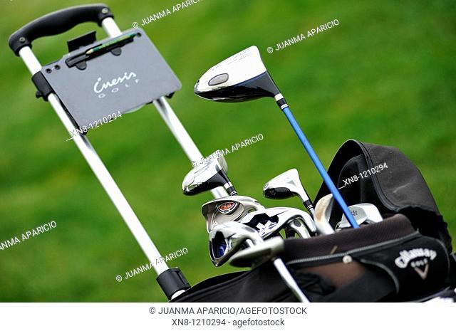 Golf bag on the golf course. Larrabea golf course, Alava, Basque Country, Spain