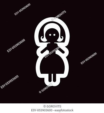 Flat icon in black and white bride