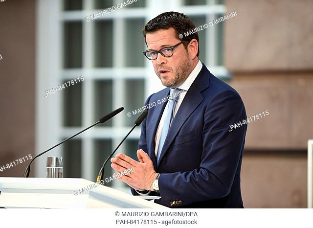 Former German Minister and chairman and founder of Spitzberg Partners, Karl Theodor zu Guttenberg, speaks during the conference 'Denk ich an Deutschland