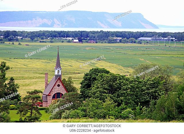 The grand pre landscape in the Annapolis valley of Nova Scotia, canada