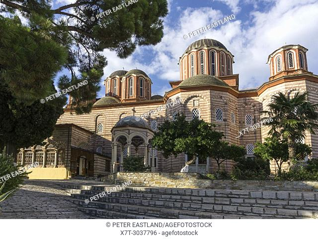 The new church, katholikon, built in the 1820s, at Xenophontos monastery on The Southwest coast of the Athos peninsula, Macedonia, Northern Greece