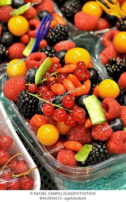 Berries for sale at Sant Josep aka La Boqueria market, Barcelona. Catalonia, Spain