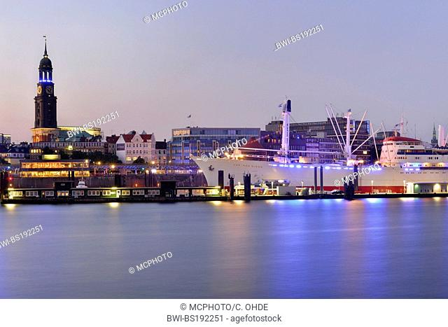 blue illuminated harbour skyline Blue Port during the Cruise Days, Germany, Hamburg