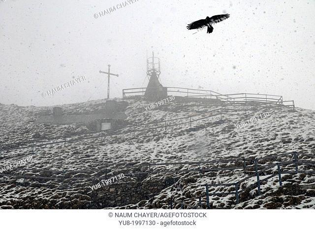 Mount Pilatus, snowstorm in May, Switzerland