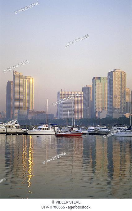 Asia, Boats, Buildings, City, Holiday, Landmark, Manila, Manila bay, Modern, Moody, Philippines, Asia, Reflection, Sea, Skyline