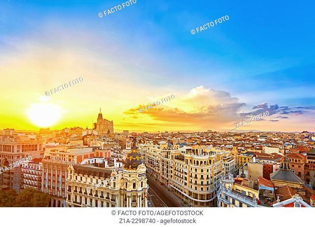 Madrid skyline from The Circulo de Bellas artes rooftop. Madrid, Spain