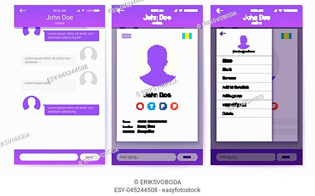 UI kit of mobile app. Page of profile and sidebar menu screen, friends list with chat. GUI design for responsive business website or applications
