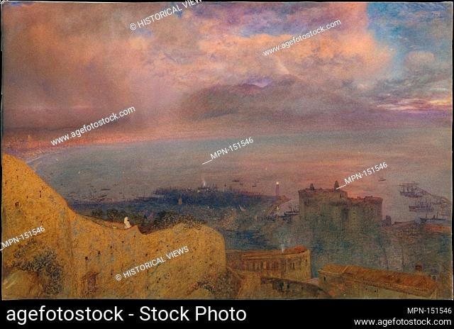 View of the Bay of Naples with Vesuvius, Smoking, in the Distance (Evening). Artist: Alfred William Hunt (British, Liverpool 1830-1896 London); Date: 1871;...