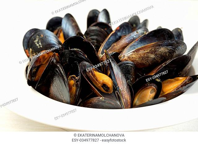 Italian cuisine. Mussels in a porcelain plate. Shallow DOF, horizontal, close up