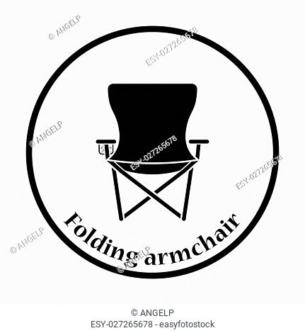 Icon of Fishing folding chair. Thin circle design. Vector illustration