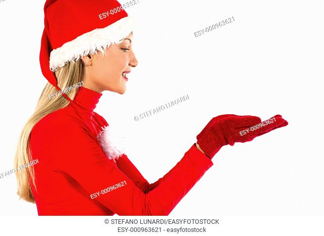 Beautiful Santa girl on white presenting/holding something, you can add your own product on hands