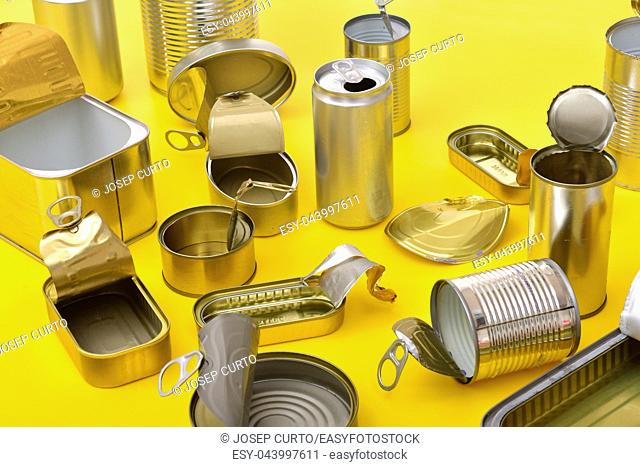 view of tin can isolated on yellow