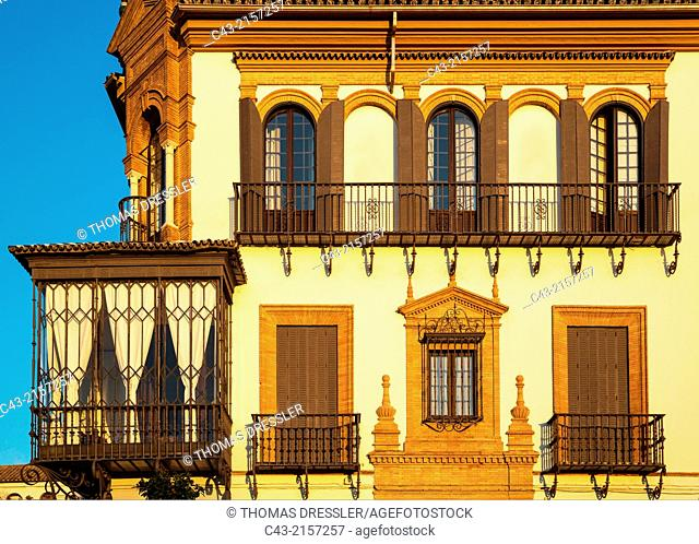 Andalusian style residence in the evening light. Santa Cruz quarter, Seville, Seville province, Andalusia, Spain