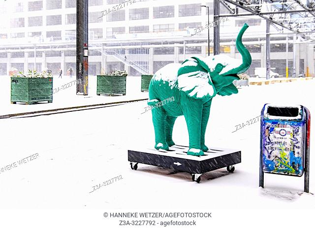 Green elephant at industrial former Philips-complex Strijp-S, Eindhoven, The Netherlands, Europe