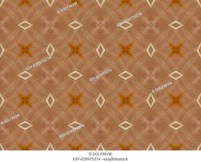 Brown Ethnic pattern. Abstract kaleidoscope fabric design