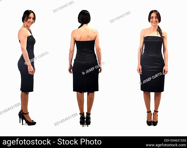 front profile and rear view of an elegant woman wearing a strapless word on white background
