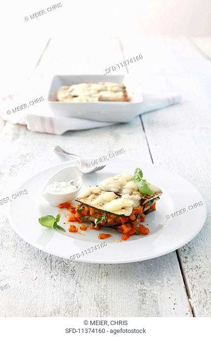 Vegetable lasagne with a basil dip