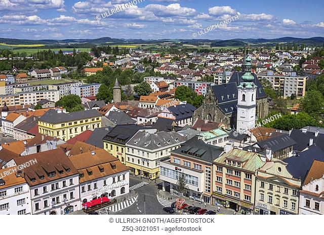 Klatovy, Czech Republic - view over the central town square and the Old Town in northeastern direction