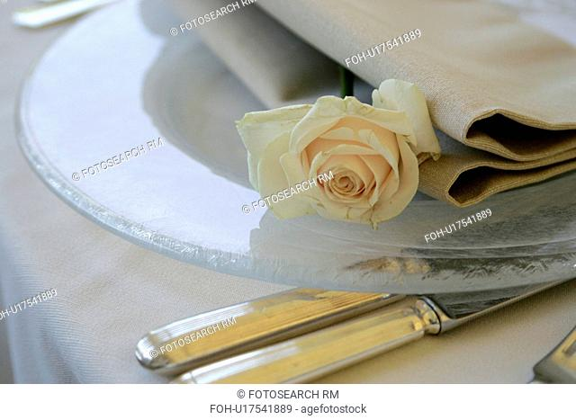 Rose on a plate at place setting