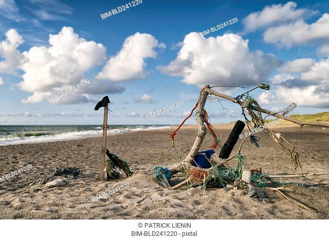 Sculpture of garbage at beach