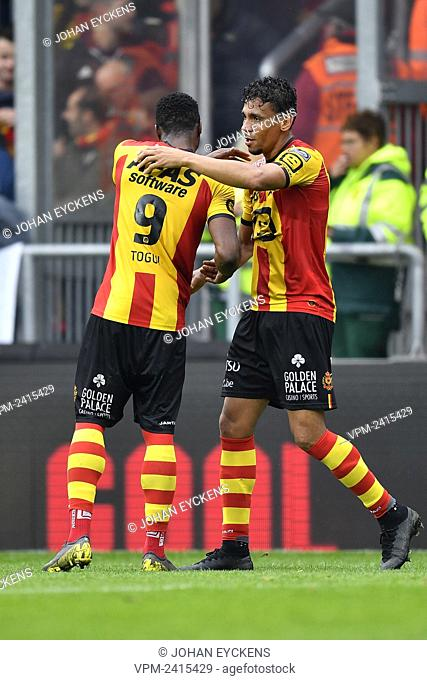 Mechelen's Igor de Camargo and Mechelen's William Togui celebrate after scoring during a soccer match between KV Mechelen and Royal Antwerp FC