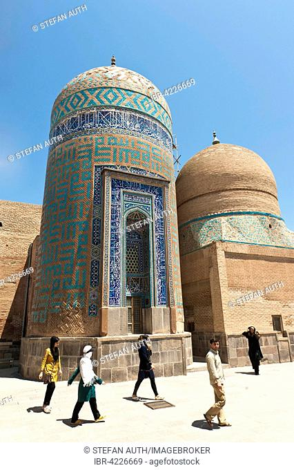 Grave tower, Safi-ad-Din Ardabili Mausoleum, Haram Khaneh living quarters on right, Ardabil, Iran