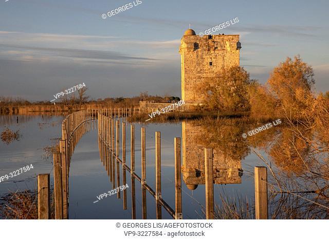 Tour Carboniere, ancient tower, still water, reflection, Aigues-mortes, Saint Laurent d'Aigouze, Little Camargue, Occitanie