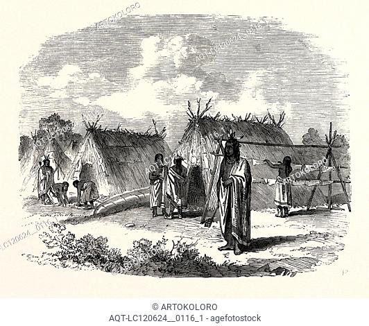 THE ASSINNIBOINE AND SASKATCHEWAN EXPLORING EXPEDITION: OJIBWAY ENCAMPMENT NEAR THE FALLS OF THE RAINY RIVER, 1858