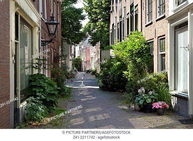 Alley in the city of Leiden, Netherlands
