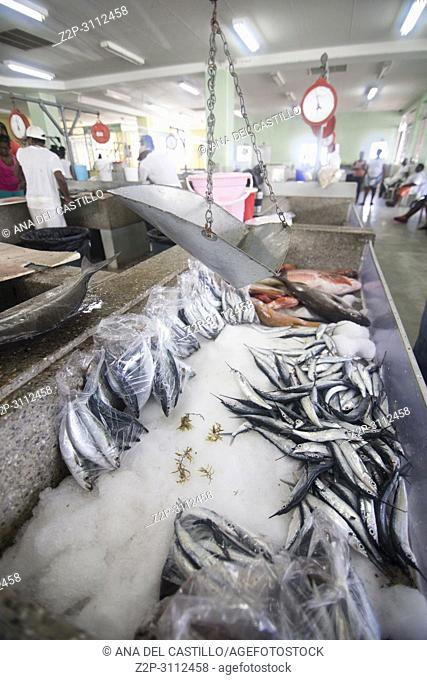 Fish market in Kingstown Saint Vincent and the Grenadines Caribbean sea on December 8, 2017. Bank of St Vincent