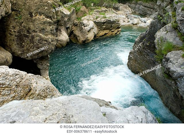 Small waterfall and pool, Bellos river, Añisclo canyon, Ordesa and Monte Perdido National Park