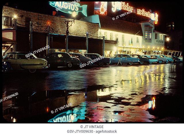 Parked Cars on Rainy Night, Fisherman's Wharf, San Francisco, California, USA, 1957
