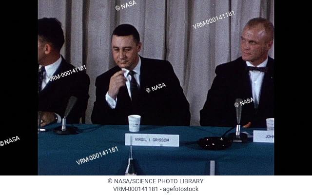 Mercury 7 astronauts at a press conference. The astronauts are Alan B. Shepard, Walter M. Schirra, and John H. Glenn, Virgil I. Grissom, M
