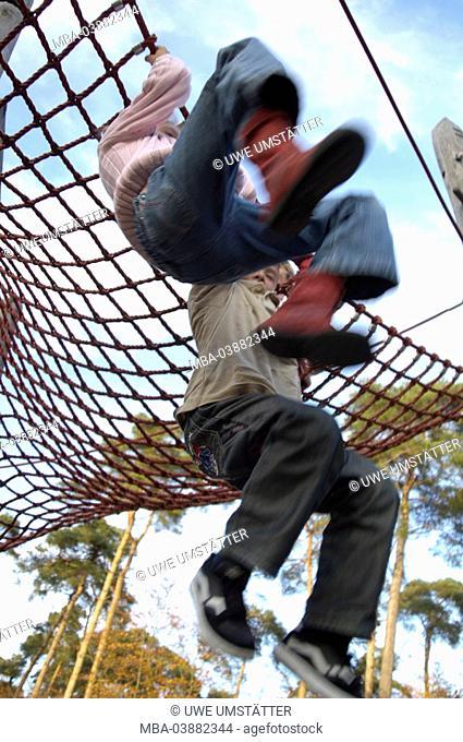 Children, girl, boy, playground, Klettergerüst, plays, does gymnastics, ropes, hangs, cheerfully, activity, fuzziness, friends, 6-10 years, friendship, fun