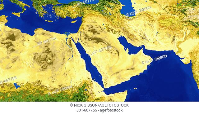 AVHRR natural colour satellite image of the Arabian Peninsula and Northeast Africa with shaded topographic relief