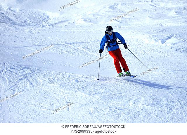 Young male skier,Brevant ski area, Chamonix Valley Mont Blanc,French Alps,Haute Savoie,France,Europe