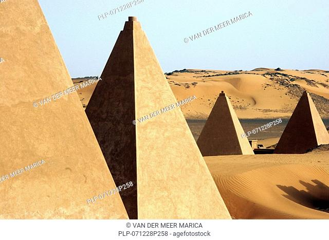 Pyramides of Meroe in the desert, Sudan, Africa