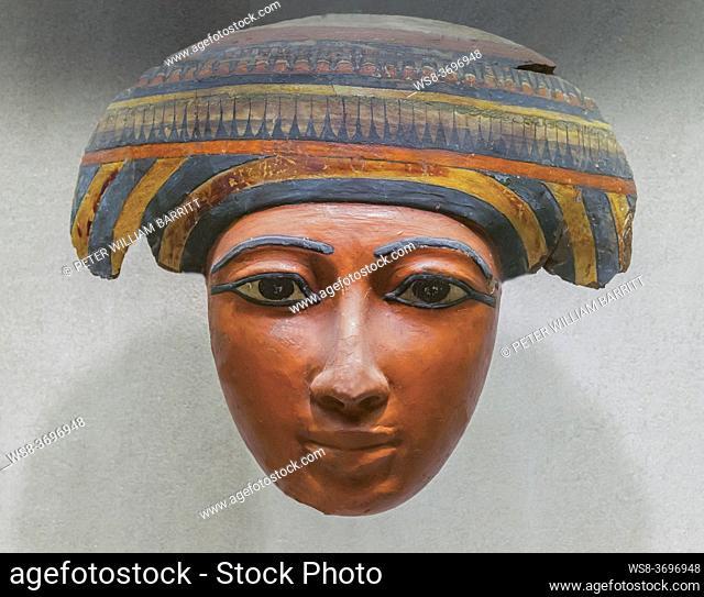 Mask of Coffin of Pekherkhonsu, Kushite Dynasty 25, el-Khokha Tomb, Upper Egypt, Thebes, Metropolitan Museum of Art, Manhattan, New York City, USA