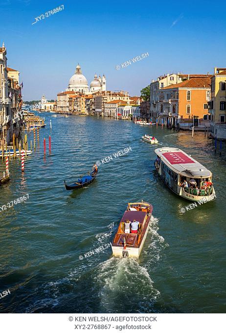 Venice, Venice Province, Veneto Region, Italy. View along the Grand Canal to Santa Maria della Salute. Venice is a UNESCO World Heritage Site