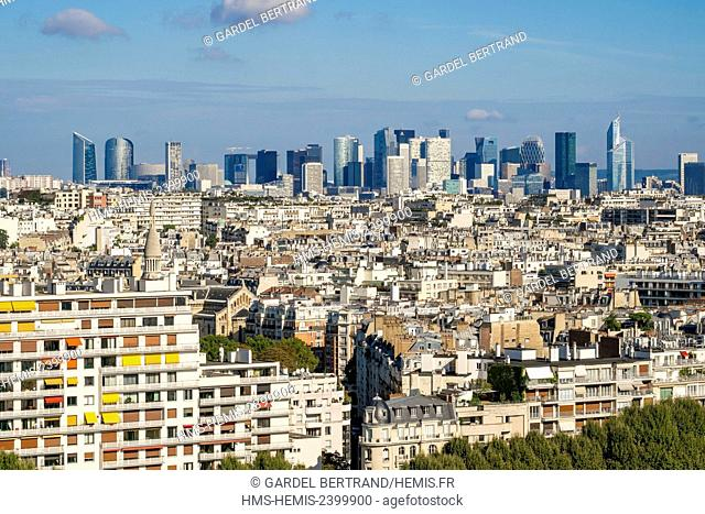 France, Paris, general view of the 16th arrondissement and La Defende business district (aerial view)