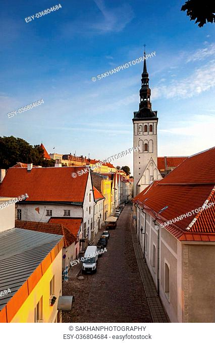 Back streets of TallinN viewed from the top of Toompea Hill in Tallinn capital of Estonia. Image no 200