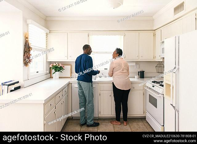 Couple in their kitchen together washing the dishes and smiling
