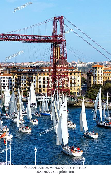 """""""""""Regata del Gallo"""", Bizkaia's Hanging Bridge, located between Las Arenas and Portugalete Village, Bizkaia, Basque Country, Spain, Europe"
