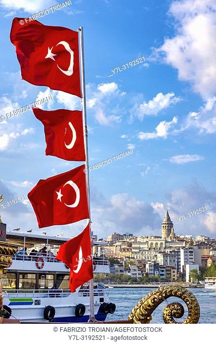 A view of the Karaköy skyline from the Bosphorus, Istanbul, Turkey