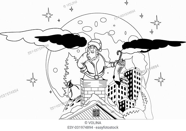 Illustration of Santa Claus ccarrying Christmas presents