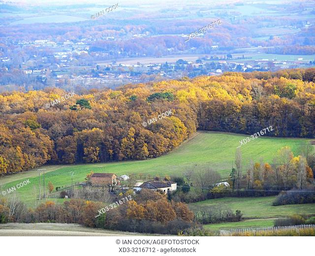 view of countryside from Monsegur, Lot-et-Garonne Department, Nouvelle Aquitaine, France