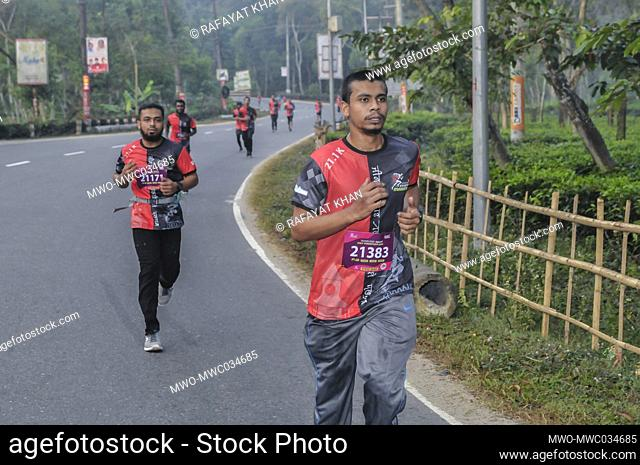 Sylhet, Bangladesh. 4th December 2020. The 'Brandslencer Sylhet Half Marathon 2020' was organized for the first time in Sylhet