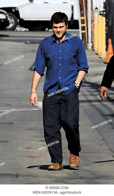 Celebrities arriving at the 'Jimmy Kimmel Live!' studios Featuring: Alden Ehrenreich Where: Hollywood, California, United States When: 09 May 2018 Credit: WENN