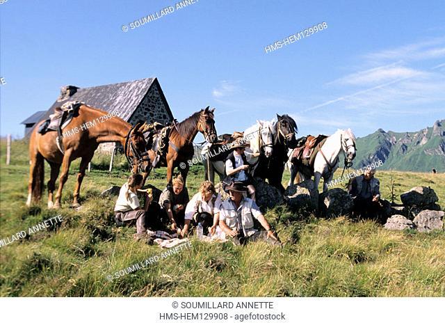 France, Puy-de-Dôme (63), Sancy massif, equestrian tourism